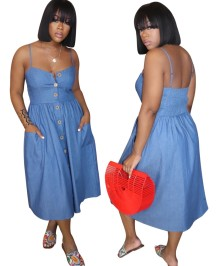 Blue Denim Strap Skater Dress