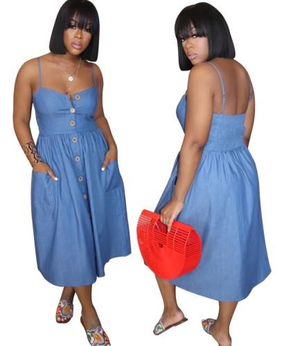 Blue Denim Strap Skater Dress