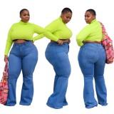 Plus Size High Waist Blue Flare Jeans