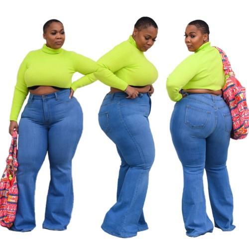 Plus Size High Waist Washed Denim Blue Flare Long Jeans