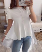 Chemise à basque longue contrastée d'été