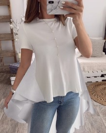 Summer Contrast High Low Long Peplum Shirt