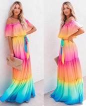 Sommer ohne Schulter Regenbogen Maxikleid