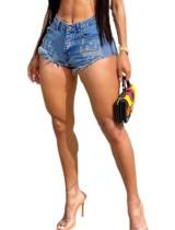 Pantalones cortos de mezclilla de corte alto azul marino de verano