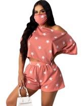 Conjunto de pantalones cortos de dos piezas con estampado Summer Stars con cubierta facial