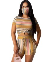 Summer Striped Print Two Piece Shorts Set with Face Cover