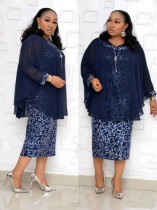 Plus Size Mother of the Bride Two Piece Long Dress