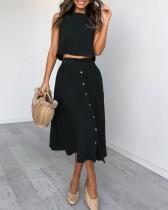 Top corto de verano y falda larga