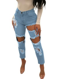 Stylish Cut Out Damaged Jeans