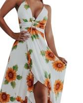 Vestido largo halter envuelto floral de verano