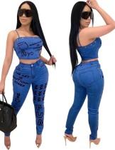 Set di top e jeans sexy con stampa denim blu