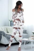 Mono de pijama tie dye con hombros descubiertos y manga larga de otoño
