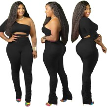 Plus Size One Shoulder Crop Top and Stacked Pants Set