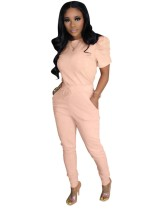 Casual Plain Two Piece Pants Set