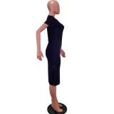 Vestido camisero largo con abertura y cuello redondo de verano