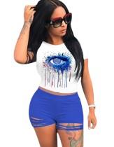 Summer Eye Print Zweiteiliges Shorts-Set