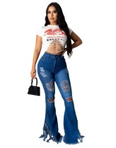 Sexy High Waist Ripped Tassels Flare Jeans