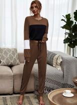 Conjunto de pijama de dos piezas en contraste de otoño