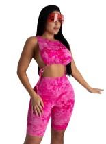 Conjunto de top y pantalones cortos con efecto tie dye