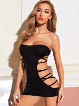 Sexy Black Cut Out Tube Schlafzimmer Kleid
