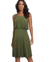 Zomer A-lijn tweedelige effen jurk met ronde hals