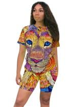Conjunto de pantalones cortos de verano de dos piezas Animal Tie Dye