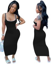 Sexy Blank Bodycon Langes Westenkleid