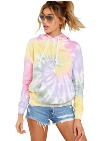 Autumn Tie Dye Hoody Shirt with Pocket