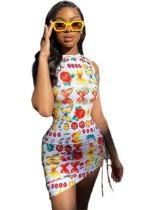 Mini vestido de verano sin mangas con estampado sexy