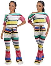 Conjunto de pantalones de dos piezas de colores a rayas de verano