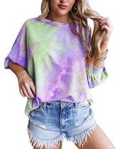 Autumn Tie Dye Rundhals-Shirt
