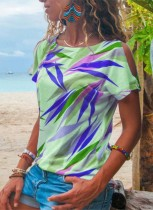Sommerdruckhemd mit ausgeschnittenen Ärmeln