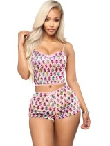 Summer Sexy Dollar Two Piece Shorts Pajama Set