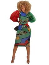 Vestido midi de colores ocasionales con mangas pop