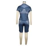 Summer Sports Print Two Piece Biker Shorts Set