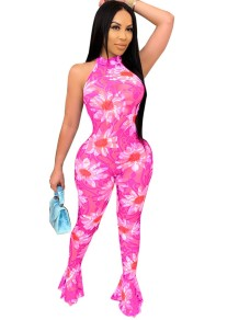 Sexy See Through Floral Bell Bottom Scoop Jumpsuit