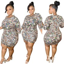 Plus Size Summer Leopard Bodycon Kleid