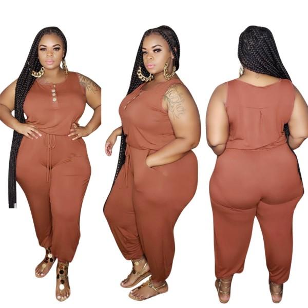 Plus Size Sleeveless Plain Jumpsuit