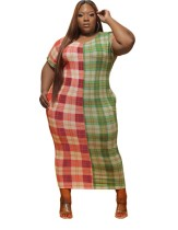 Plus Size Kontrast Plaid Midi Kleid