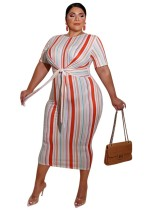 Plus Size Striped Knot Midi-Kleid