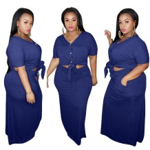 Plus Size Two Piece Plain Top and Skirt Set
