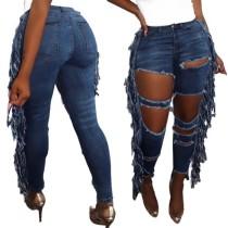 Stylish Blue Cut Out Tassel Jeans
