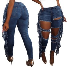Stylish Blue Cut Out Tassel Jeans