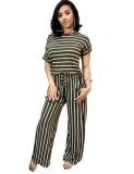 Plus Size Striped O-Neck Jumpsuit