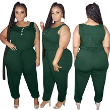 Plus Size Sleeveless Plain Jumpsuit