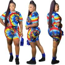 Plus Size Tie Dye tweedelige biker shorts set