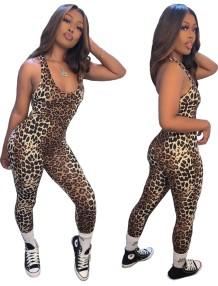 Macacão Sexy Sem Mangas Leopardo Bodycon