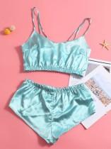 2PC Summer Satin Top und Shorts Pyjama Set
