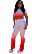 Plus Size Gradiente Crop Top e calças empilhadas Set