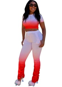Plus Size Gradient Crop Top and Stacked Pants Set